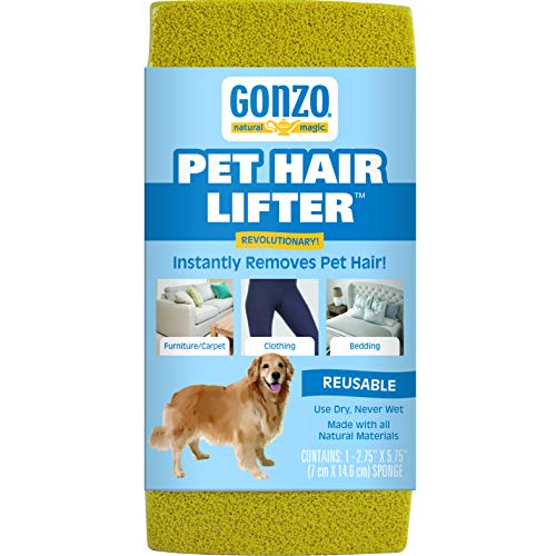 Gonzo Pet Hair Lifter - Remove Dog, Cat and Other Pet Hair from Furniture, Carpet, Bedding and Clothing - 1 Sponge