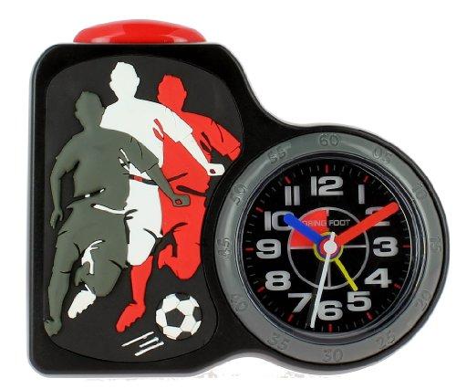 Baby Watch, Motivdruck Dring Jungen Fußball Black-Wecker, Quarz Analog, Zifferblatt schwarz