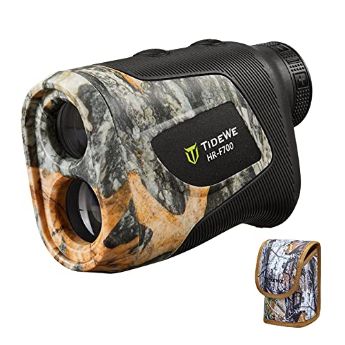 TIDEWE Hunting Rangefinder with Rechargeable Battery, 700Y Camo Laser Range Finder 6X Magnification, Distance/Angle/Speed/Scan Multi Functional Waterproof Rangefinder with Case