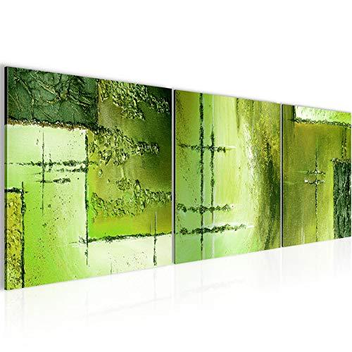 Wandbild Abstrakt Bilder 120 x 40 cm Vlies - Leinwand Bild XXL Format Wandbilder Wohnzimmer Wohnung Deko Kunstdrucke Grün 3 Teile - MADE IN GERMANY - Fertig zum Aufhängen 100933c