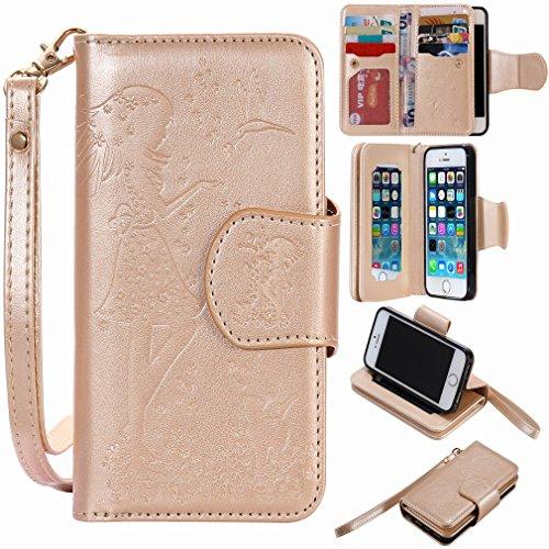 Yiizy handyhülle für Apple iPhone 5 iPhone 5s iPhone SE Hülle, Mädchen Prägung Entwurf PU Ledertasche Beutel Tasche Leder Haut Schale Skin Schutzhülle Cover Stehen Kartenhalter Stil Schutz (Golden)