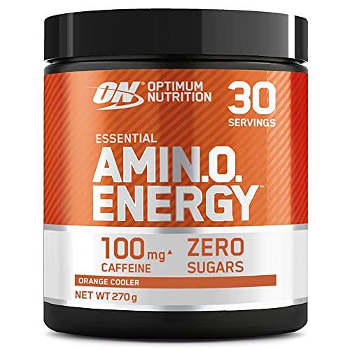 Optimum Nutrition Amino Energy, Pre workout en Poudre, Energy Drink avec Bêta-Alanine, Vitamine C, Caféine et Acides Aminés, Saveur Orange, 30 Portions, 270g, l'Emballage Peut Varier