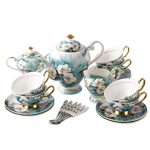 Conjuntos de té de cerámica de porcelana de 21 piezas, tazas y servicio de platillo para 6, tetera, azúcar, jarra de crema y 6 cucharaditas, tazas de china de hueso, conjunto de café de servicio
