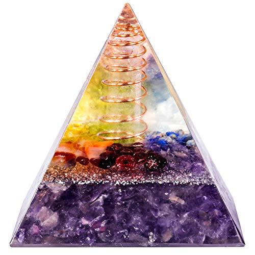 mookaitedecor Heilstein Kristall Pyramide mit Amethyst, Positive Energiepyramide für EMF Schutz Meditation/Yoga/Heilchakra/Wohnkultur 50mm