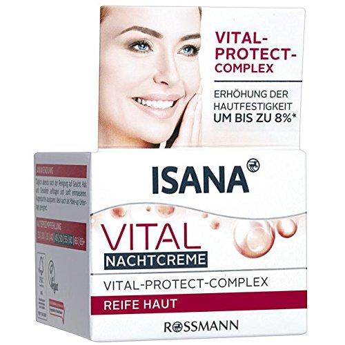 ISANA Vital Nachtcreme 50 ml für reife Haut, mit Vital-Protect-Complex, Erhöhung der Hautfestigkeit um bis zu 8%*, Hautverträglichkeit dermatologisch bestätigt, pH-hautneutral, vegan