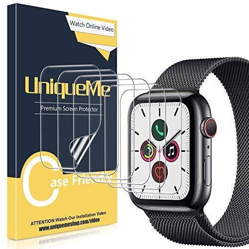 UniqueMe [6 Stück] Schutzfolie für Apple Watch 44mm séries 4/5, [Wasserfreie Adsorption] [Flexible Folie] Soft HD TPU Clear Anti-Scratch Displayschutzfolie