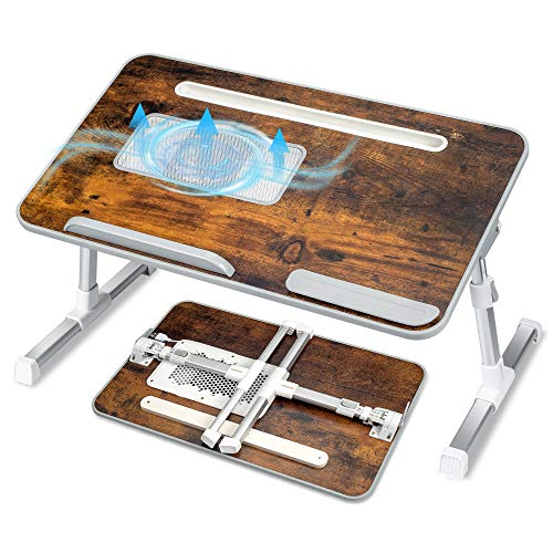 Adjustable Laptop Bed Desk, Foldable Computer Stand Bed Tray Table for Eating Writing and Laptops, Portable Notebook iPad Stand Reading Holder with CPU Cooling Fans in Sofa Couch Floor Medium Size