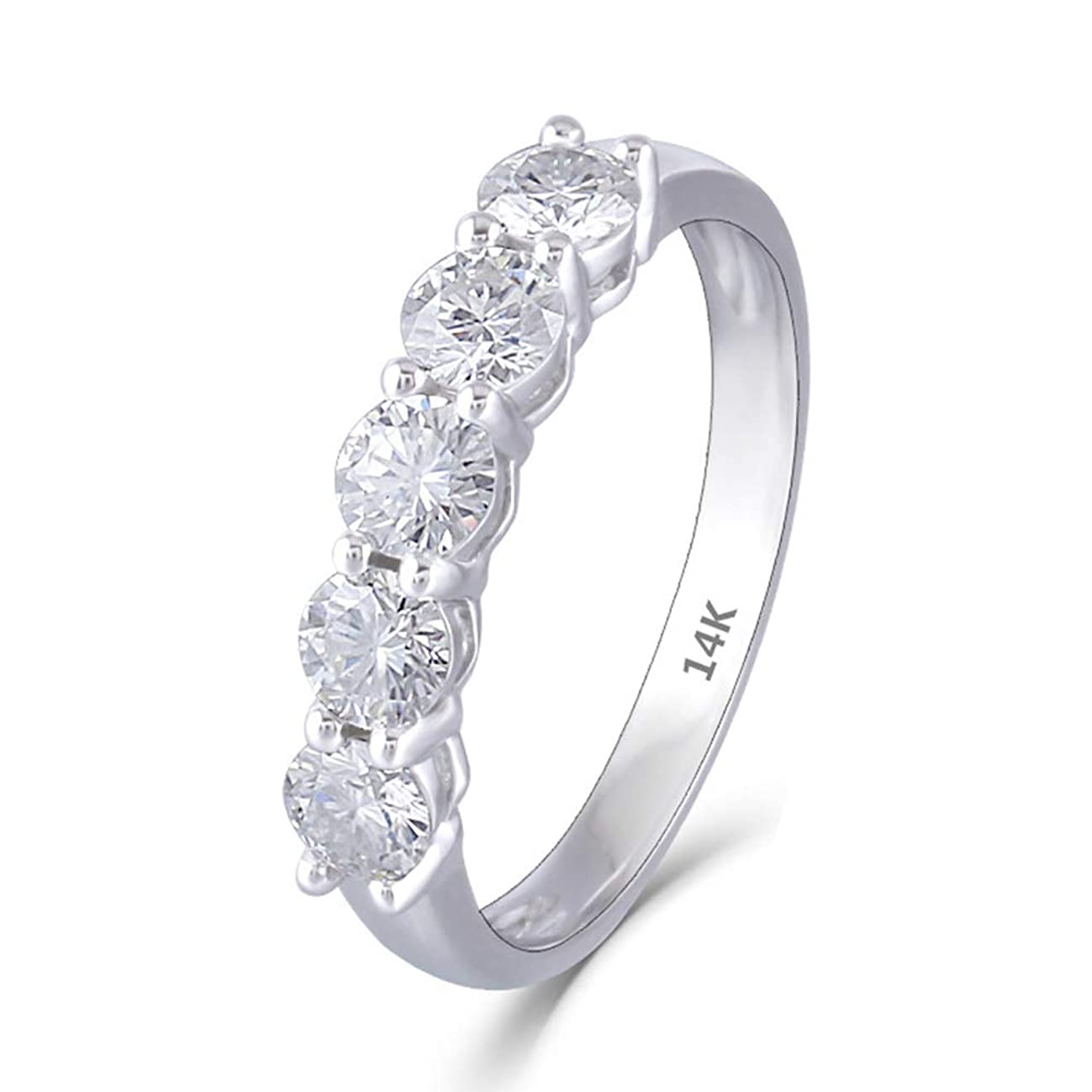 DOVEGGS Solid 14K White Gold 1.25CTW 4mm GH Color Moissanite Engagement Ring Half Eternity Anniversary Wedding Band