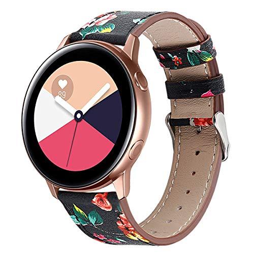 HappyTop Lederen bandjes Compatibel voor Samsung Galaxy Watch Actieve Polsband Vrouwen Casual Band