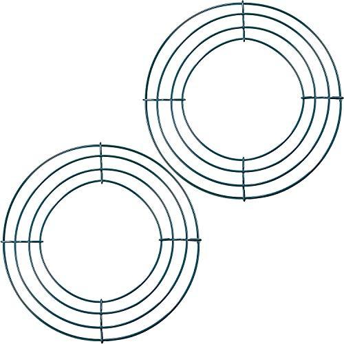 2 Packung Draht Kranz Rahmen Draht Kranz Hertsellung Ringe Grün für Neujahr Valentines Dekoration (8 Zoll)