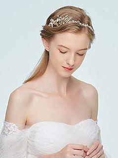 FXmimior - Fascia per capelli da sposa, con perle e foglie, accessorio per capelli color oro, accessorio per capelli da sposa