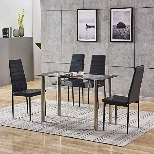 Modern Dining Room Black Glass Table and Chairs Set of 4, 5 Piece Small Kitchen Rectangular Table with Storage and 4 Chairs Set Space-Saving