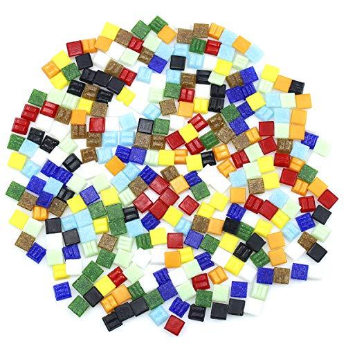 NATUCE 300 Pezzi Tessere per Mosaico, Tessere di Vetro, Mosaico Tasselli, Assortiti Mosaico Piastrelle Tasselli in Vetro Mattonelle di Cristallo - 1x1 cm