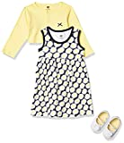 Hudson Baby Baby Girls' Cotton Dress, Cardigan and Shoe Set, Daisy, 0-3 Months