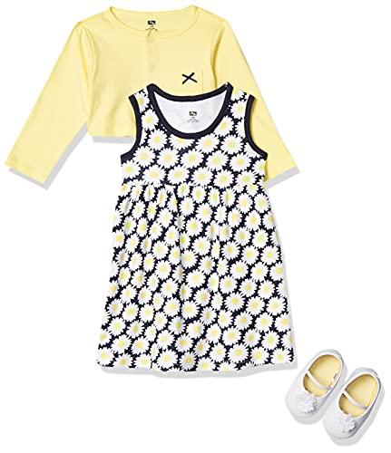 Hudson Baby Girls' Cotton Dress, Cardigan and Shoe Set, Daisy, 12-18 Months