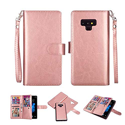 Black Sales Friday Deals Cyber Sales Monday Deals Case for Galaxy Note 9 [2 in 1] Samsung Galaxy Note 9 Wallet Case [Detachable Folio] [Vegan Leather] [Wrist Strap] [Card Slot] [Kickstand] (Rose Gold)