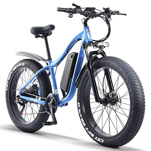 ride66 e Bike Mountainbike ebike Herren Damen 26 Zoll 1000W 48V 16Ah Fatbike (Blau)