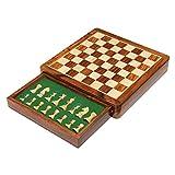 StonKraft Ajedrez magnético de Madera con cajón de Almacenamiento | Juego de Tablero de ajedrez de Viaje con cajón de ajedrez (12 x 12 Pulgadas Plana)