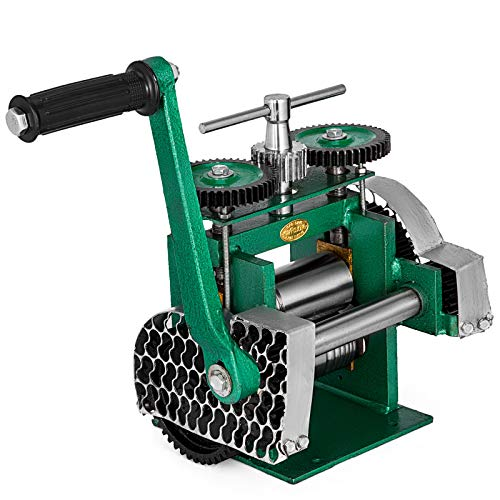VEVOR Jewelry Combination Rolling Mill 120mm Width Flat Rolling Mill 55 mm Diameter Rollers Rolling Mill Press Gear Ratio 4:1 Jewelry Press Tabletting Tool for Jewelry Repair Design