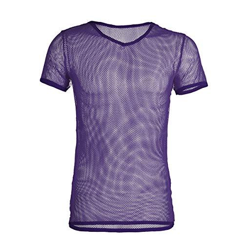 iEFiEL Herren Top T-Shirt Kurzarm Netzhemd Unterhemd Erotik Guywear Dessous Transparent (XL, Lila)