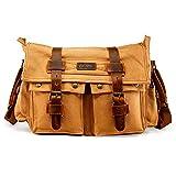 GEARONIC Mens Canvas Leather Messenger Bag for 14' 17' Laptop Satchel