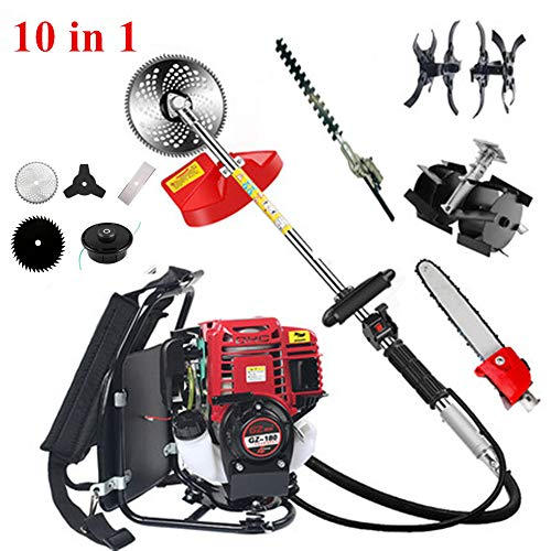 Review CHIKURA 10 in1 Backpack Brush Cutter with Gx35 4 Stroke Engine Grass Trimmer Brush strimmer M...