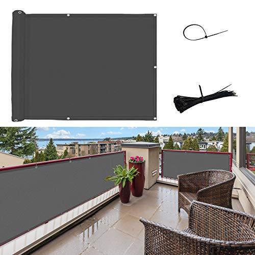SUNNY GUARD Pantalla para Balcón Jardín Protección de Privacidad PES Resistente a los Rayos UV Protección contra el Viento, con Ataduras de Cables, 90x400cm Antracita