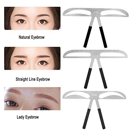 3 soorten wenkbrauwliniaal – positionering balansregel voor permanente make-upmeetinstrument, doe-het-zelf wenkbrauwsjablonen – permanente goudverhouding. Natural Eyebrow