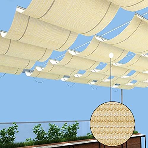 Al Aire Libre Pérgola Telescópica Kit De Hardware De Sombrilla Toldo De Patio, Anti-UV Tejido Hidrofóbico Pista De Alambre para Patios, Terraza, Restaurante (Color : Beige, Size : 0.75x5m)