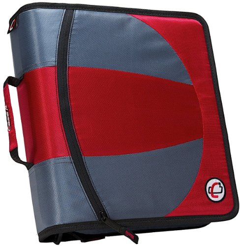 Case-it Dual 2-in-1 Zipper D-Ring Binder, 2 Sets of 1.5-Inch Rings with Pencil Pouch, Red, DUAL-101-RED