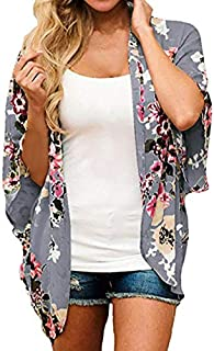 Finoceans Womens Floral Chiffon Kimono Cardigans Loose Beach Cover Up Half Sleeve Tops