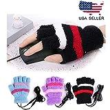 HoFire - Guanti invernali da donna con riscaldamento USB, riscaldatore USB, senza dita, colore: Nero