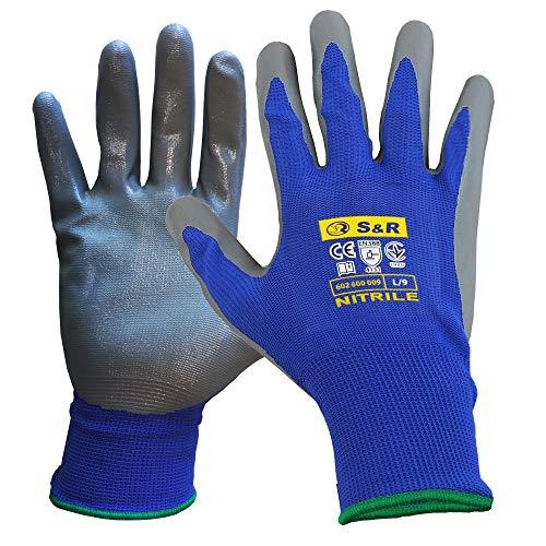 S&R Schutzhandschuhe 12 Paar mit Polyester-Futter und Nitrilbeschichtung in XL/10, Anti-Rutsch Arbeitshandschuhe für Montage, Bauen, Restauration