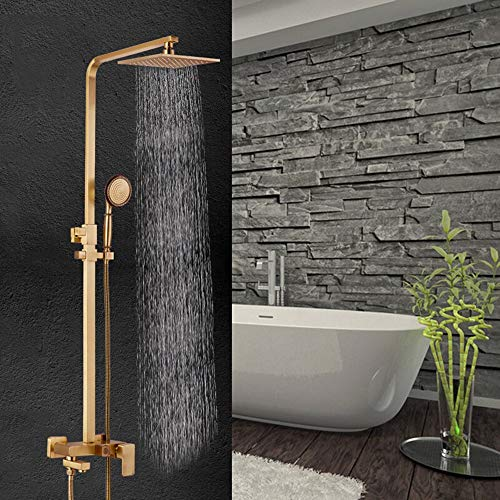 Best Buy! Chenteshangmao Large Top Spray European-Style Electroplating Copper Booster Square Shower ...