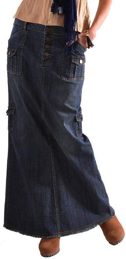 Women's Casual High Waist Button Pocket Front Long Denim Maxi Skirt