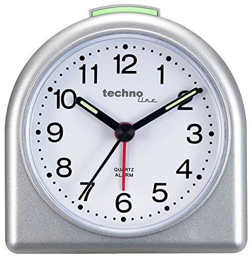Technoline Quarzwecker Modell SD, silber, analog, nachtleuchtende Zeiger