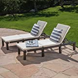 Christopher Knight Home 295751 Estrella Outdoor PE Wicker Adjustable Chaise Lounge Chairs w/Cushions, Set of Two, Brown