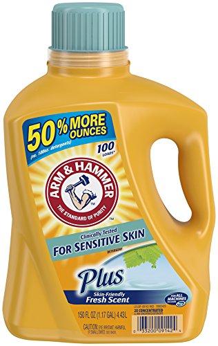 Arm & Hammer Liquid Laundry Detergent, Sensitive Skin Plus, 150 Fluid Ounce