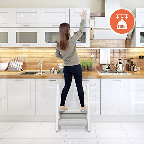 Costzon Kids Step Stool, Children Step Ladder for Toddler w/Non-Slip Design, Safety Handles, 110 Lbs Weight Capacity, Multipurpose Stool Ladder, Perfect for Kitchen Counter, Bathroom (Grey)