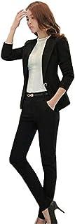 就活 スーツ パンツスーツ レディース 結婚式 着痩せスーツol スーツ オフィススーツセットアップ おしゃれビジネス 通勤 事務服 (4XL, ブラック)