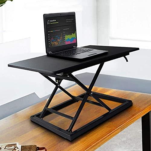 Soporte para asiento Escritorio de altura ajustable Escritorio ergonómico de pie Estación de trabajo Monitor Elevador de teclado Mesa plegable para computadora compacta Negro 72x45cm (28x18inch)