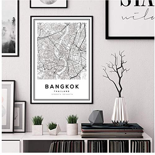 Modern Canvas Painting Black and White Bangkok City Map Thailand Travel Poster Print Wall Art Pictures for Home Decor 30 * 40cm frameless