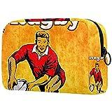 Bolsa de maquillaje grande para jugadores de rugby pasando la pelota, bolsa de maquillaje, organizador con cremallera para mujeres y niñas