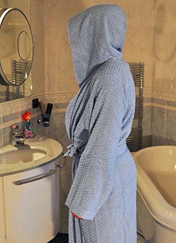 Casatessile Esponja de Naturella algodón Bata de baño Nido de Abeja - Bianco, XXL Extra Extra Large