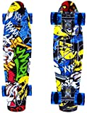 ENKEEO Skateboard Planche à roulettes Retro Cruiser 22 Pouces, 4 Roues Translucides PU, Table en Plastique Renforcé, Roulement...
