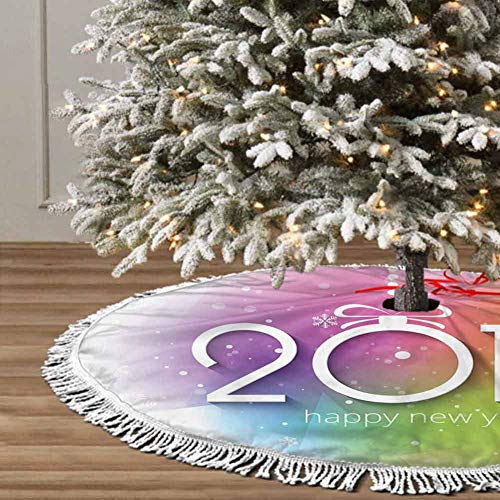 Christmas Tree Skirt, 36 inches Christmas Decoration Fringed Lace (Art Creative Christmas) for Christmas Decorations for Xmas Party and Holiday Decorations