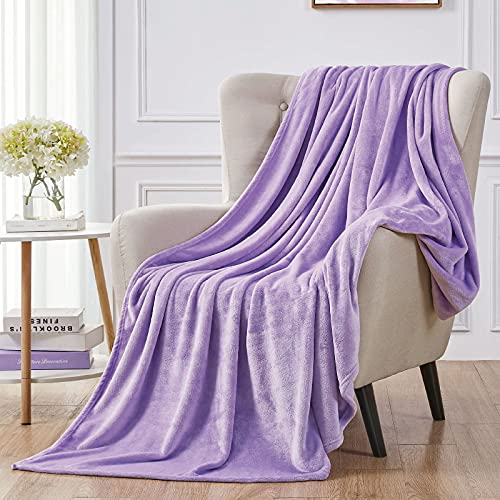"""Walensee Fleece Blanket Plush Throw Fuzzy Lightweight (Twin Size 60""""x80"""" Lavender) Super Soft Microfiber Flannel Blankets for Couch, Bed, Sofa Ultra Luxurious Warm and Cozy for All Seasons"""