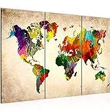 Runa Art Mapa Del Mundo Cuadro Murales Sala XXL Vistoso Continentes Mapa 120 x 80 cm 3 Piezas Decoración de Pared 105131a