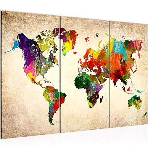 Runa Art Weltkarte Bild Wandbilder Wohnzimmer XXL Bunt Kontinente Landkarte 120 x 80 cm 3 Teilig Wanddeko 105131a