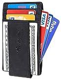 Travelambo Money Clip Front Pocket Wallet Slim Minimalist Wallet RFID Blocking (Black Classic)